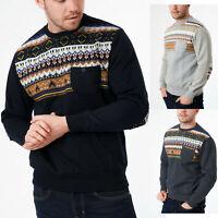Mens Sweatshirt Jumper Crew Neck Sweater Pullover Printed Fairisle Heavy S-XL