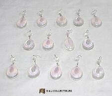 IRIDESCENT GLASS TEAR DROP 14 PIECES CHANDELIER PRISMS W/ BUTTONS