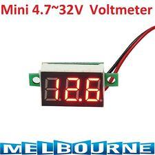 Mini Red 3 Digit LED Panel Voltage Meter Voltmeter Gauge Adjustment DC 32V Solar