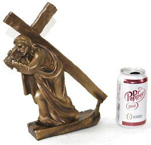 Crucifixion of Christ Cross Desktop Décor Cold Cast Bronze Sculpture Statue Art