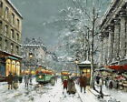 French Winter Street View Oil Painting Wall art Giclee Printed on Canvas P632