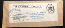 1947 Jurby Isle of Man England POW Camp OHMS Economy Label Cover To Cambridge