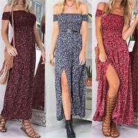 Women's Off The Shoulder Floral Long Maxi Dress Casual Beach Party Boho Sundress