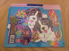 New Vintage Lisa Frank File Brights 3 Folders Labels & Stickers Casey Candy Dogs