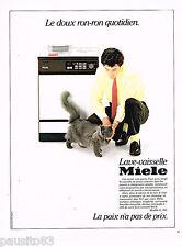 PUBLICITE ADVERTISING 065  1984  MIELE    lave vaisselle  le ron-ron du chat