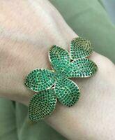 925 Sterling Silver Handmade Authentic  Emerald Leaf Bracelet Bangle Cuff