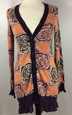 Anthropologie Sleeping On Snow Button Front Cardigan Sweater Size Medium Floral