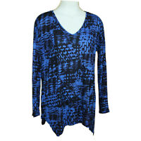 KENSIE Women's Patchwork Brushstrokes Long Sleeve Tunic Top Blue Combo S Small