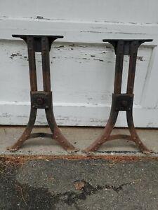 Vintage / Antique Rugged Adjustable Industrial Cast Iron/Steel Legs Table Base