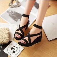 Women's Plus Size Open Toe Platform Wedge Heel Cross Strap Roma Suede Sandals