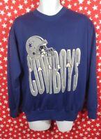 Vintage 90s Dallas Cowboys Crewneck Sweatshirt Navy Blue Size L/XL