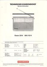 NORDMENDE-Essex 2014 984.110 H-SERVICE INFORMATION Graphique-b3524