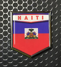 "Haiti Flag Domed CHROME Emblem Proud Haïti Flag Ayiti Car 3D Sticker 2""x 2.25"""