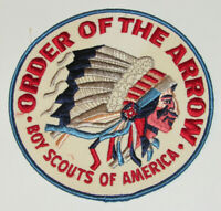 """VINTAGE 1960s BOY SCOUTS OF AMERICA 'ORDER OF THE ARROW' LARGE 6"""" DIAMETER PATCH"""