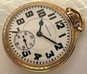 16s - 1930 10 Karat Gold fi. Hamilton hand winding Railroad pocket watch, c. 992