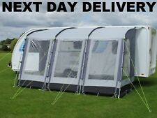 New 2021 Pearl Grey Kampa Dometic Rally 390 Classic Poled Caravan Porch Awning