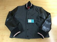 Dry Bones Leather & Wool Badass Jacket Self-Edge Black Charcoal Gray Medium