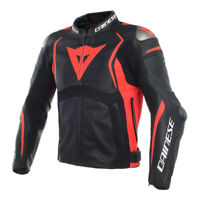 DAINESE Jacket MUGELLO Leather BLK/BLK/FLUO RED 48,,56