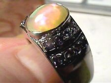 STERLING SILVER 925 OPAL NATURAL RING 8.5 WHITE GOLD  SOLITAIRE AUSTRALIAN sapph