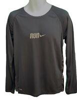 NIKE RUN Dri Fit  Long Sleeved Running Workout Gym Shirt Black M