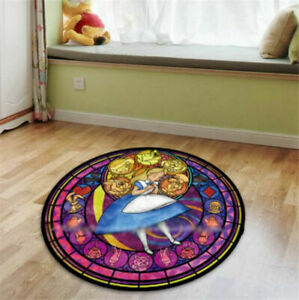 Alice in Wonderland Round Non-slip Mat Floor Rug Carpet Room Velboa Doormat Gift