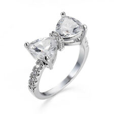 Women Fashion 925 Silver White Sapphire Bow Ring Wedding Jewelry Gift Size 6-10