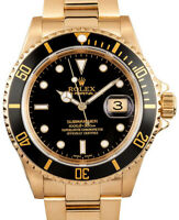 Rolex Submariner 18k Yellow Gold Black Dial/Bezel Mens Dive Watch X 16618