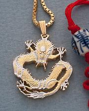 "Dragon Pendant China hand cut coin 14K& Rhodium Plated 1""Dia. ( # 72 )"