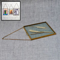 Antique Brass Hanging Picture Photo Frame Glass Metal Portrait Vintage Style