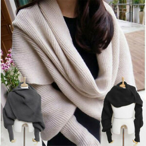 Women Knitted Sweater Tops Scarf Warm Shawl with Sleeve Wrap Winter Scarves 2021