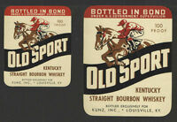 OLD SPORT STRAIGHT BOURBON WHISKEY Small + Large Pair ANTIQUE BOTTLE LABEL - NEW