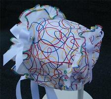 New Handmade Scribble Print with White Ruffle and Bows Summer Baby Bonnet