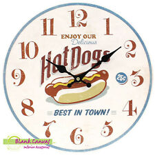 Vintage Retro Shabby Chic Hotdog Kitchen Wall Clock - BNIB