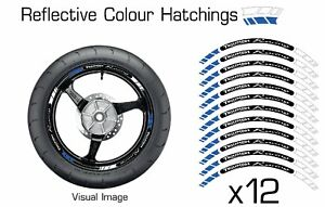 TRIUMPH BLUE REFLECTIVE MOTORCYCLE WHEEL TAPE STICKERS RIM DECALS VINYL 031