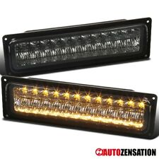 For 88-98 Chevy GMC C10 Truck Smoke LED Bumper Lights Parking Signal Lamps Pair