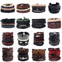 Punk Men's Braided Leather Wrist Bracelet Wristband Bead Cuff Bangle Jewelry Set