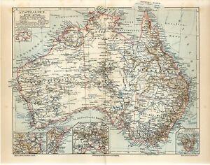 1895 AUSTRALIA TASMANIA SYDNEY MELBOURNE BRISBANE Antique Map
