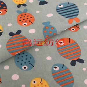 50x150cm Cotton Linen Fabric DIY Home Deco Material Lucky Fish Blue Base SXY02 B