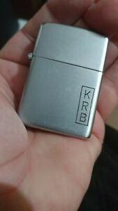 Zippo lighter 1940s 3 barrel hinge plain case original nickel silver insert NICE