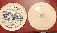 "LOT 2 Christmas SLEIGH RACE CAKE PLATE PLATTER Currier & Ives Blue 11 ½"" Xmas"