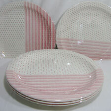 "Set 5 Churchill England 10"" Dinner Plates Pink Shades Dots & Stripes Dishes"