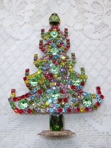 AMAZING VINTAGE MULTICOLOR CZECH RHINESTONE CHRISTMAS TREE STANDING