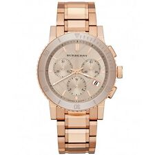 Nuevo Burberry BU9703 Oro Rosa con Acabado de Acero Inoxidable Cronógrafo Reloj