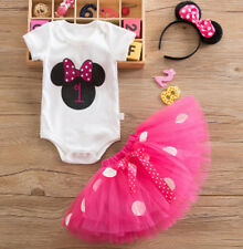 Disney Mouse 1st Birthday Baby Girl Bodysuit, Headband, & Tutu PINK Outfit NWT