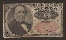 1874-1876 5th Issue 25¢ Fractional Currency,Fr 1309 Short Key,Walker,Vf,Nice!