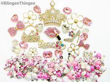 USA DIY 3D Gold Alloy Rhinestone Crown Pink Lips Heels Kawaii Deco Bling Kit z96