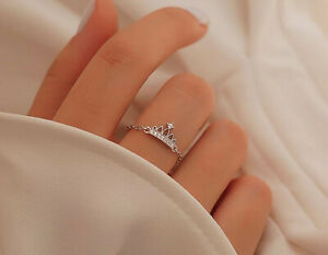 925 Sterling Silver Vintage Crown Chain Adjustable Ring Womens Jewellery Gift UK