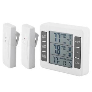 2 Sensors Wireless Digital Freezer Alarm Thermometer Fridge Indoor Outdoor DN