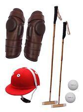 2 Polo Mallets, Polo Helmet, Polo Riding Knee Guard & 2 Balls