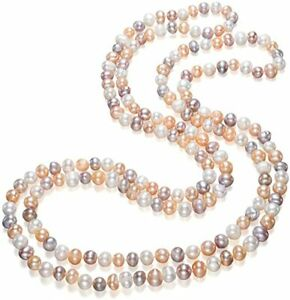 Long Style 8-9mm Near Round Multicoloured Freshwater Pearl Necklace for Women